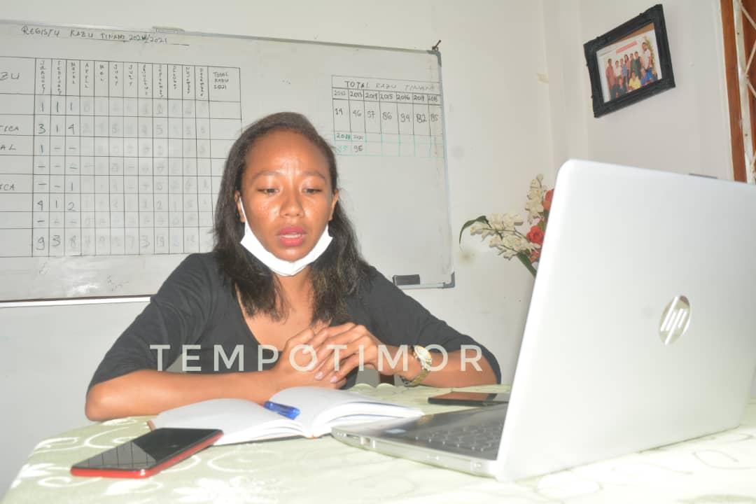 Koordenadór Programa Fatin Hakmatek Pradet Suai, Imelda Imaculada Morreira. Foto Tempo Timor.